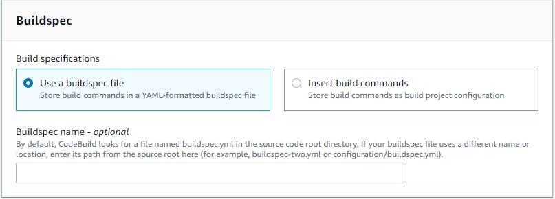 Code build, selezione codice