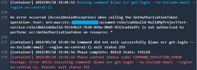 codebuild error per autorizzazioni in docker