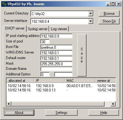 tftp32 configurazione