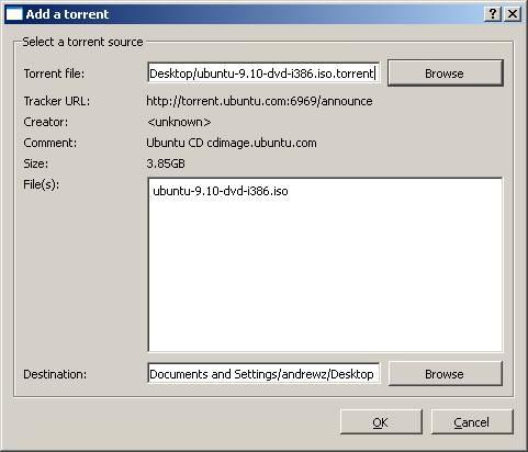 Selezione del torrent con il client Torrent scritto con Qt