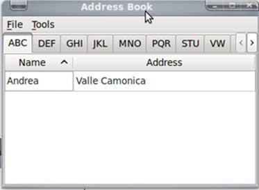 Adress book su linux e Qt