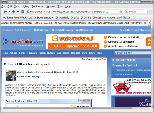 Pagina web sul browser in Qt