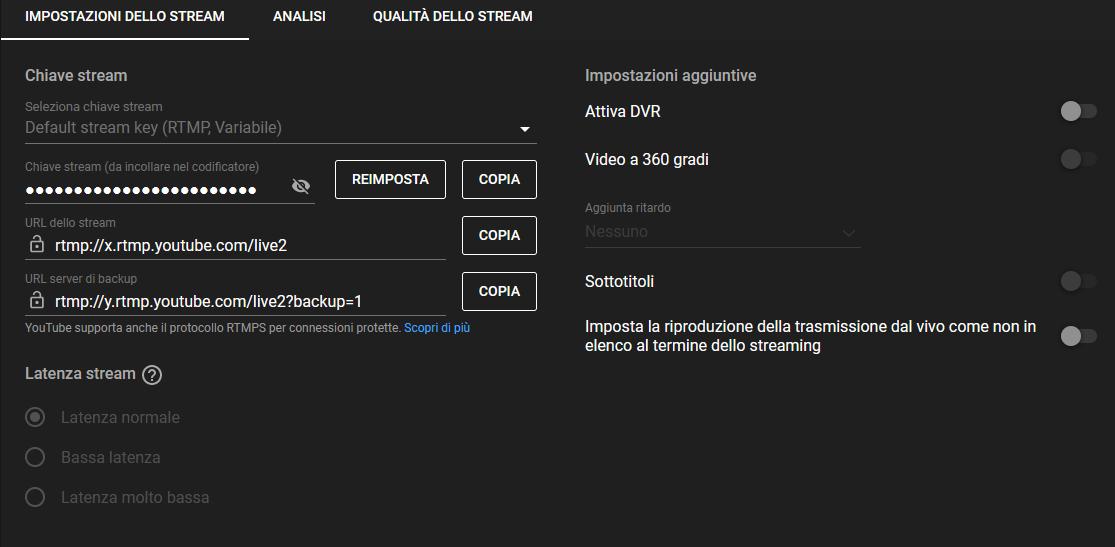 Configurazione Youtube live